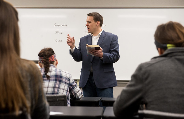 Globe/Roger Nomer<br /> Jim Dalrymple, vice president of college relations and professor of New Testament and Bible, leads a class on Timothy-Titus on Thursday at Ozark Christian College.