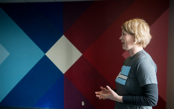 Globe/Roger Nomer<br /> Lori Haun talks about office space at the Empire Market on Friday during a tour of the space.