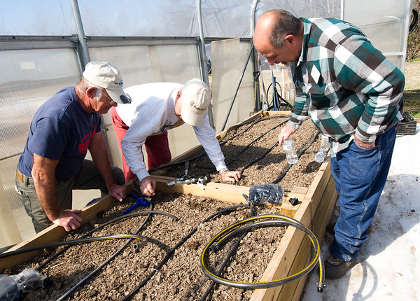 From the left: Ozark Gateway Master Gardeners Ron Wood and Arthur Dahms work to install an irrigation system inside the new greenhouse at Crosslines on Saturday afternoon as University of Missouri Horticulure Extension Specialist Robert Balek looks on.<br /> Globe | Laurie Sisk