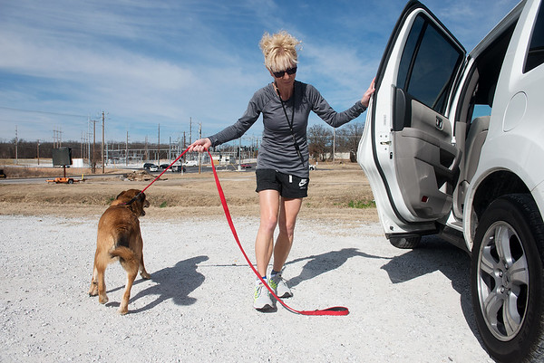 Globe/Roger Nomer Ashlee is ready to run as she and Kelly Johnson arrive on Tuesday at the Frisco Trail.