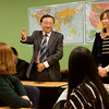 Globe/Roger Nomer<br /> Shandong Foreign Trade Vocational College President Yang Mingang and Cui Wei, director of international programs, address and English class at Missouri Southern on Friday.