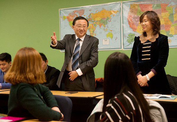 Globe/Roger Nomer Shandong Foreign Trade Vocational College President Yang Mingang and Cui Wei, director of international programs, address and English class at Missouri Southern on Friday.