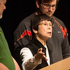 Globe/Roger Nomer<br /> Yoko Teats talks about her childhood in Japan during WWII during a lecture on Wednesday at Pittsburg State University.