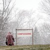 BEN GARVER — THE BERKSHIRE EAGLE<br /> Preparation for Mercy Sunday at the National Shrine of The Divine Mercy take place in light snow Friday, April 6, 2018.
