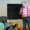 """Linda Bailey and David Storm rehearse a scene from """"Farce of Nature"""" on Tuesday at the Stone's Throw Theatre in Carthage.<br /> Globe 