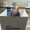 Keith Harrington votes at the Miami Civic Center on Tuesday afternoon.<br /> Globe | Roger Nomer