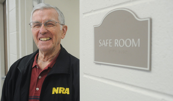 Globe/Roger Nomer<br /> Jerry Douglas, deacon, talks about the addition of a safe room to the Empire Baptist Church.  Douglas and his wife were in the basement of the previous church during the May 22, 2011, tornado, and escape with no injuries.