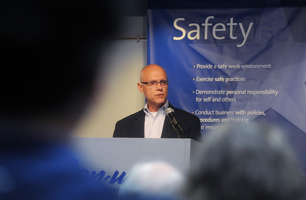 Globe/Roger Nomer<br /> Bert Johnson, vice president of human resources at Con-way, talks about driving safety during a presentation on Tuesday.
