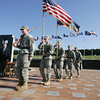 Globe/Roger Nomer<br /> Members of the Pittsburg State University ROTC present the colors during Thursday's ceremony to honor former Staff Sergeant Clinton Romesha at the Veteran's Memorial.