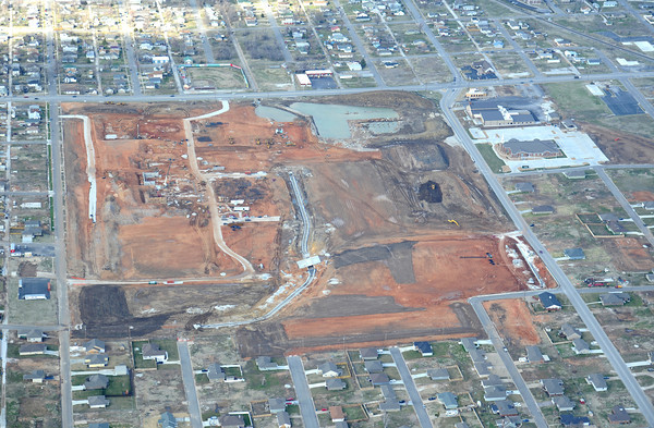 Globe/T.Rob Brown<br /> An aerial view of the location of the new Joplin high school campus under construction.  Taken March 12, 2013. View from the south looking north. Twentieth Street goes left to right across the top of the photo.