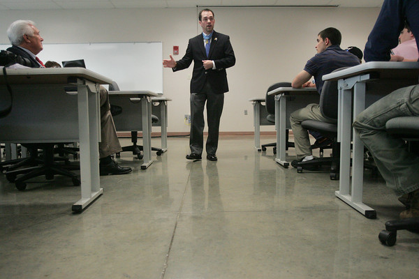 Globe/Roger Nomer<br /> Following Thursday's ceremony, former Staff Sergeant Clinton Romesha talked with a class at Pittsburg State about mining safety.