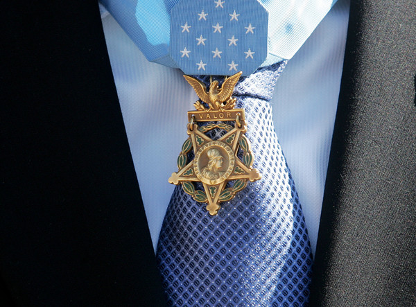 Globe/Roger Nomer<br /> Former Staff Sergeant Clinton Romesha was awarded the Medal of Honor on Feb. 11, 2013 by President Obama.