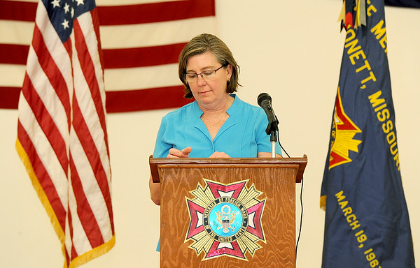 Valarie Wolfe, daughter of MIA Capt. Thomas Wolfe speaks to friends, family and supporters on April 2 at Monett's Thomas Wolfe VFW. Wolfe was shot down during the Vietnam War and friends and family are lobbying the government to increase its efforts to find his body.<br /> Courtesy photo
