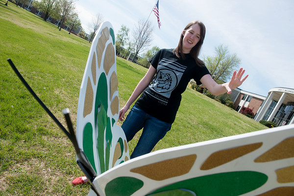 Globe/Roger Nomer<br /> Alicia Zuestiak talks about her design for Missouri Southern's butterfly.