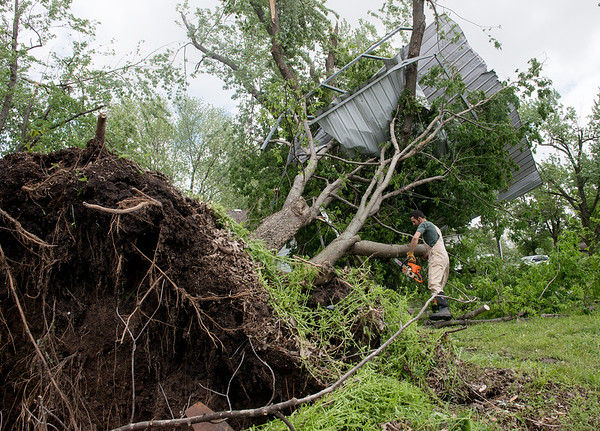 Globe/Roger Nomer<br /> Evan Murray, Yates Center, Kan., cuts up a tree on his parents' property in Girard on Wednesday morning. A car port from his parents' home landed in the tree, and it was uprooted by strong winds during the storm.