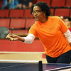 Joplin City Councilwoman Melodee Colbert-Kean is a study in concentration as she duels with councilman-elect Taylor Brown during an exhibition match at the Joplin Table Tennis 2016 Spring Classic on Saturday at Memorial Hall.<br /> Globe | Laurie Sisk