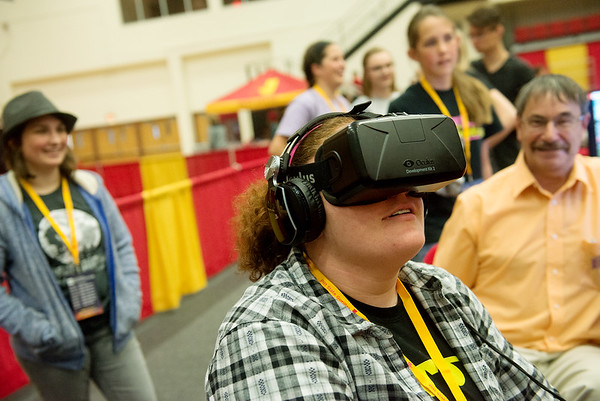 Globe/Roger Nomer<br /> Jillian Wilson, a sophomore at Chanute High School, tests out a virtual reality device during the Gorilla Games on Tuesday at the Weede Physical Education Building at Pittsburg State University.