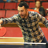 Joplin City Councilman-elect Taylor Brown battles Councilwoman Melodee Colbert-Kean during an exhibition match at the Joplin Table Tennis 2016 Spring Classic on Saturday at Memorial Hall.<br /> Globe | Laurie Sisk