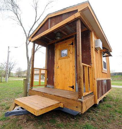 A mobile cabin with two queen beds that can easily be towed to higher ground in the event of flooding sits at Big Elk in Pineville.<br /> Globe | Laurie Sisk