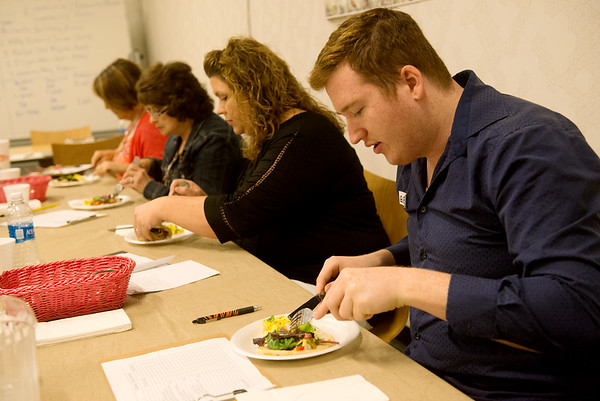 Globe/Roger Nomer<br /> Preston Eafrati judges a dish during Wednesday's competition at Franklin Tech.