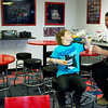 Globe/Roger Nomer <br /> Joe and CJ, 7, Copper finish up their breakfast at the Route 66 Hostel on Tuesday morning. The family was traveling back to their home in Clark, Wyo.