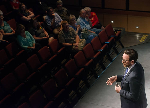Globe/Roger Nomer<br /> Shawn Naccarato talks about the Kansas budget during a legislative town hall on Monday at the Bicknell Family Center for the Arts.
