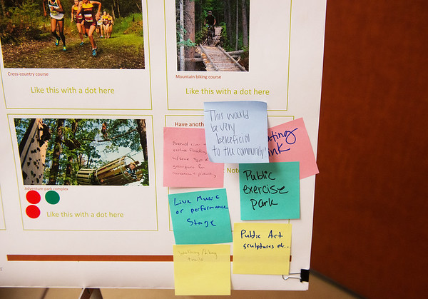Globe/Roger Nomer<br /> The public gives its input during Tuesday's Open House for the Mid-City Renaissance Project at Pittsburg Memorial Hall.