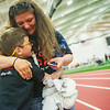 Globe/Roger Nomer<br /> Krystal Ingalsbe, Parsons, gives her son Michael, 8, a hug after he finished his race during Thursday's Kansas Southeast Region Special Olympics Spring Games at Pittsburg State's Plaster Center.
