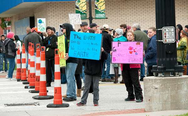 Some of about 200 marchers organize on 7th and Main streets for The Joplin Earth Day March for Science on Saturday. The event was held in conjunction with hundreds of marches worldwide on Earth Day.<br /> Globe | Laurie Sisk