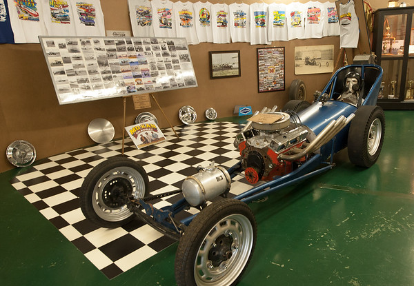 An old-school small block dragster owner by Gary Kirby higlights the Mo-Kan exhibit at the Crawford County Historical Museum.<br /> Globe | Laurie Sisk