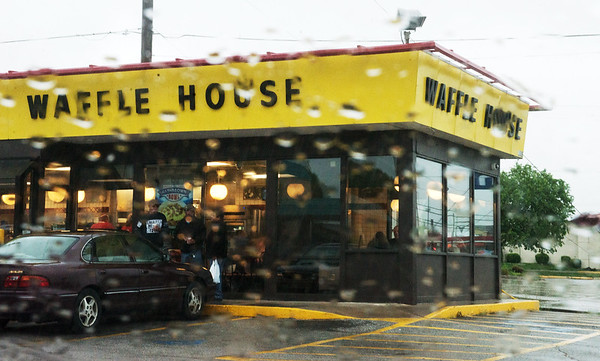 Globe/Roger Nomer<br /> The Waffle House Index is a metric used to measure disasters in an area using the restaurant, like this on South Range Line Road.