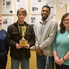 Globe/Roger Nomer<br /> Chart staffers (from left) Cora Butcher-Spellman, senior, Jack Girard, junior, Kelvin Duley II, junior, and Susannah Schrader, junior, display the Avis Meyter Perpetual Cup awarded from the Missouri College Media Association.