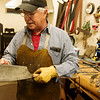 Globe/Roger Nomer<br /> Paul Brown talks about a cleaver he made for a client during an interview on Friday.