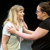 "Globe/Roger Nomer<br /> Jane Moore, a Missouri Southern freshman from Ramona, Okla., left, and Michelle Potts, a sophomore from Licking, Mo., rehearse ""The Comet"" on Monday at MSSU."