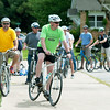 Officials from the City of Pittsburg, Crawford County and local residents prepare to take a bike tour of Pittsburg on Tuesday afternoon. The tour highlighted the challenges of riding a bike through the city.<br /> Globe | Laurie Sisk