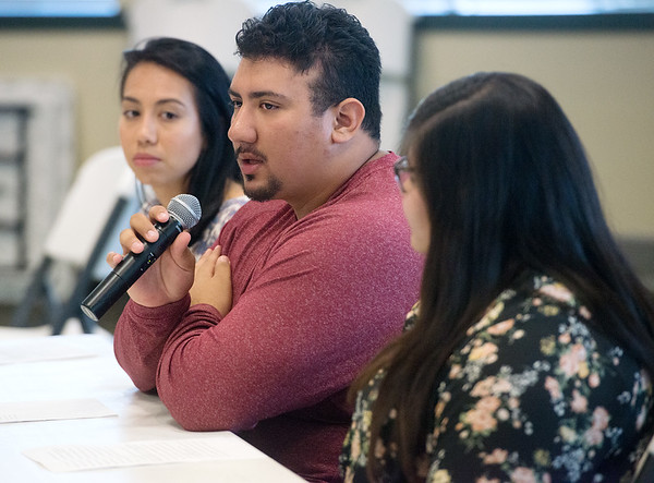 Globe/Roger Nomer<br /> (from left) Cynthia Torres, a Missouri Southern senior from Santa Anna, Calif., Antonio Carranco, a junior from Webb City, and Thelma Ponce, a sophomore from Green Forest, Ark., talk about their experience with DACA status during a forum on Thursday at MSSU.