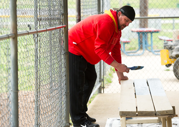 Tony Fogelsong applies fresh paint to dugout benches at the Little League stadium at Landreth Park on Saturday.<br /> Globe | Laurie Sisk