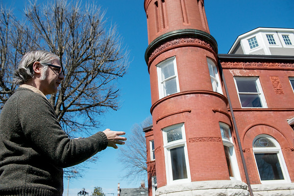 Michael Englebert Griffin, preservation architect, talks about repairs to be made to the exterior of the Schifferdecker House on Monday.<br /> Globe   Roger Nomer
