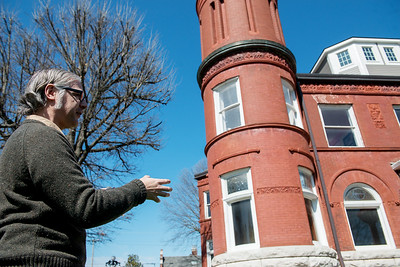 Michael Englebert Griffin, preservation architect, talks about repairs to be made to the exterior of the Schifferdecker House on Monday. Globe | Roger Nomer