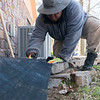 AmeriCorps National Civilian Community Corps member Sunsarrae Rapier, Morganfield, Ky. works on a landscaping project at the Bluejacket Building in Seneca on Monday.<br /> Globe | Roger Nomer