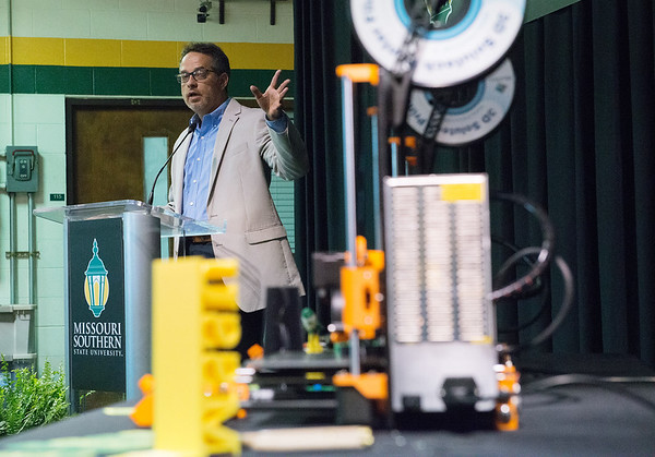 Mike Parrot, co-founder of Nemotech, talks about the donation of three Nautilus 3D printers to Missouri Southern State University on Thursday afternoon at MSSU. Nemotech, a Joplin-based company that operates as a printer farm and marketing and warehouse center for the Nautilus printer, presented the printers to be used by students in the Industrial Engineering Technology and Art departments at MSSU.