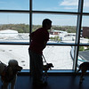 Therapy dogs and handlers visit rooms for Natonal Therapy Animal Day at Freeman West on Monday.<br /> Globe | Roger Nomer