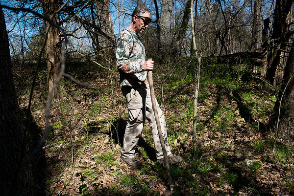 Nate Stokes searches for morels in Sarcoxie on Tuesday afternoon. Globe | Roger Nomer