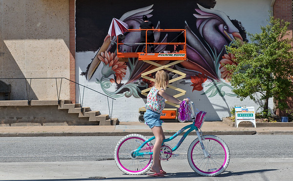 Aubrie Foran, 7, stops to watch Ana Maria Ortiz, who goes by the artist name Anamarietta, paint a mural at the Miami Public Library on Saturday. Ortiz is orginally from Puerto Rico, where she studied Animal Sciences. Her murals feature creatures of her own creation, like these waterfowls.<br /> Globe   Roger Nomer
