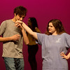 Elijah Brown, as Gomez, and Abby Brower, as Morticia, rehearse a scene from The Addams Family on Tuesday at Joplin High School.<br /> Globe | Roger Nomer
