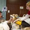 Norman Lewis, Joplin, visits with Gibbs and owner Sue Hicks for Natonal Therapy Animal Day at Freeman West on Monday.<br /> Globe | Roger Nomer