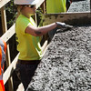 Tiara Ewy, Pittsburg State student, works with concrete at the Ruby Jack Trail bridge on Tuesday.<br /> Globe | Roger Nomer