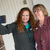 Tera Miller, left, and Martha Niess post a selfie with their voting stickers to encourage their friends to vote after voting on Tuesday at St. Paul's United Methodist Church. The duo took the selfie away from the polling place since selfies aren't allowed at the site.<br /> Globe | Roger Nomer