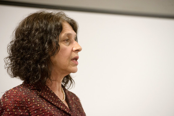 Kris Wade, executive director of the Justice Project of Kansas City, talks about her experiences with human trafficking during a presentation on Tuesday at Life Choices.<br /> Globe | Roger Nomer