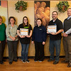 (from left) Peggy Fuller, board member of Bright Futures, Shally Lundien, principal of Columbia Elementary, Hannah Kaufmann, manager of Subway, Missina Sharp, operations manager of Subway, Chip Boyd, administrative pastor at Journey Church, and Jason Weaver, principal at Jefferson Elementary, attend the awarding of the Bright Futures Partner of the Month on Monday at the Subway at the West Seventh Street Walmart. Kaufmann was recognized for her work with Columbia Elementary, and Boyd was recognized for his work with Jefferson Elementary.<br /> Globe | Roger Nomer